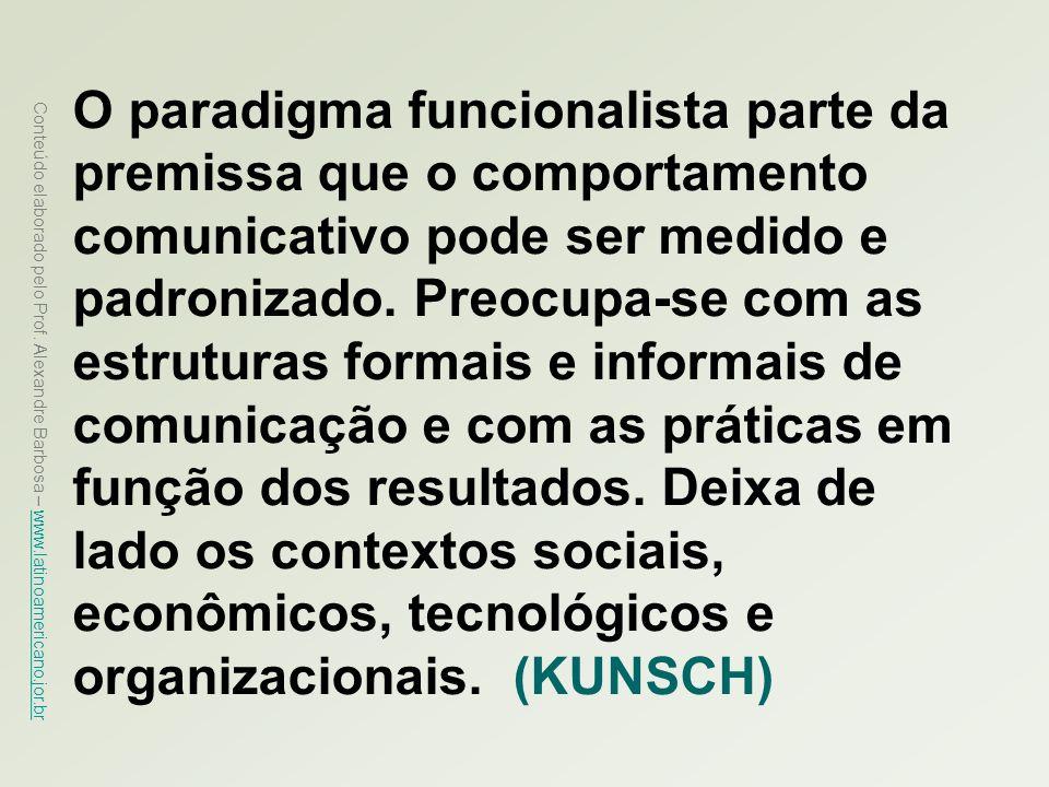 O paradigma funcionalista parte da premissa que o comportamento comunicativo pode ser medido e padronizado. Preocupa-se com as estruturas formais e informais de comunicação e com as práticas em função dos resultados. Deixa de lado os contextos sociais, econômicos, tecnológicos e organizacionais. (KUNSCH)
