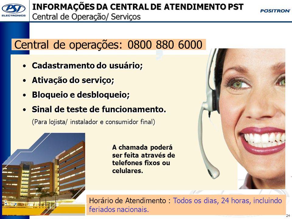 INFORMAÇÕES DA CENTRAL DE ATENDIMENTO PST