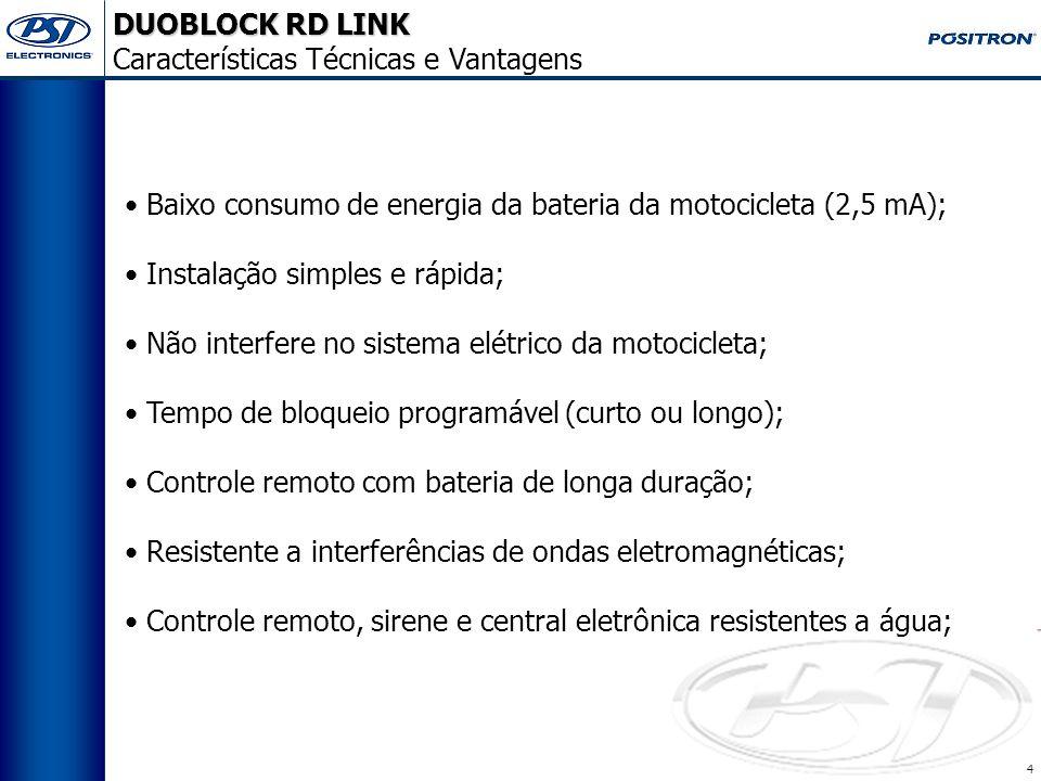 DUOBLOCK RD LINK Características Técnicas. Modo assalto ao pressionar o botão LIGA do controle; Modo assalto por afastamento do controle;