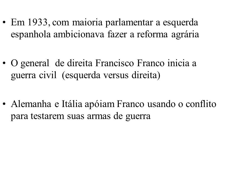 Em 1933, com maioria parlamentar a esquerda espanhola ambicionava fazer a reforma agrária