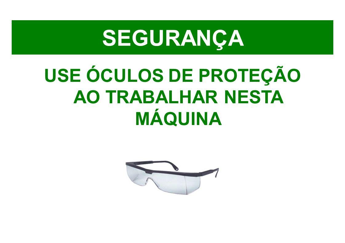 USE ÓCULOS DE PROTEÇÃO AO TRABALHAR NESTA MÁQUINA