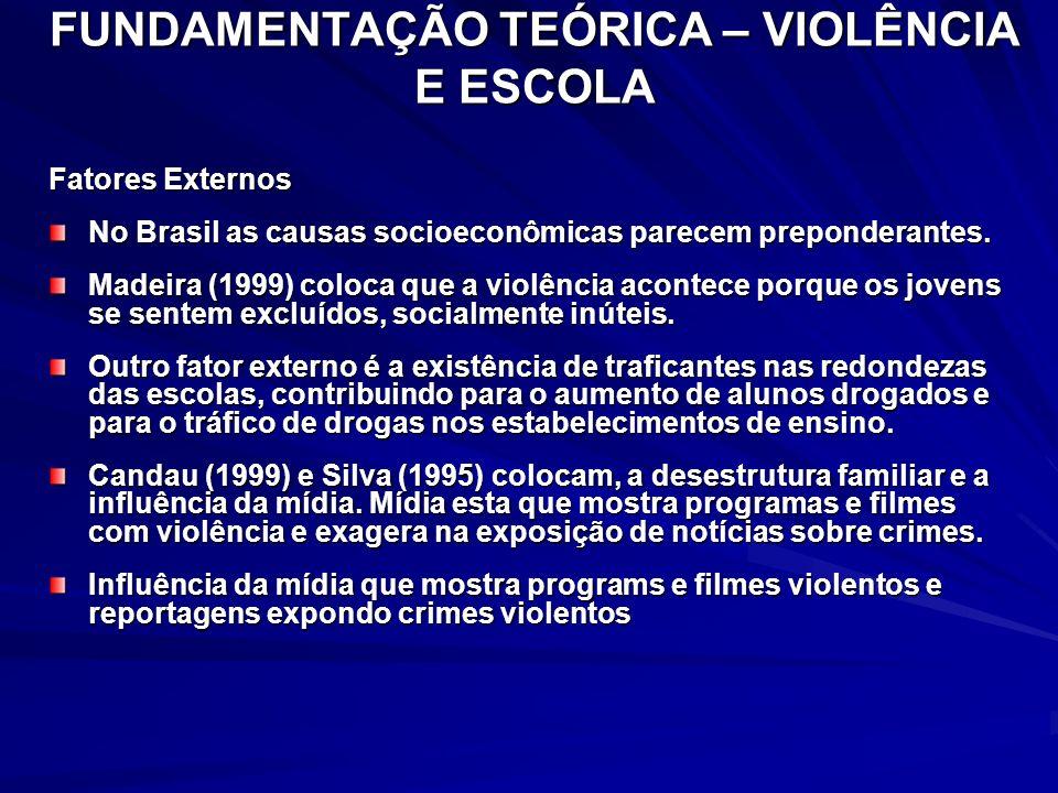 FUNDAMENTAÇÃO TEÓRICA – VIOLÊNCIA E ESCOLA