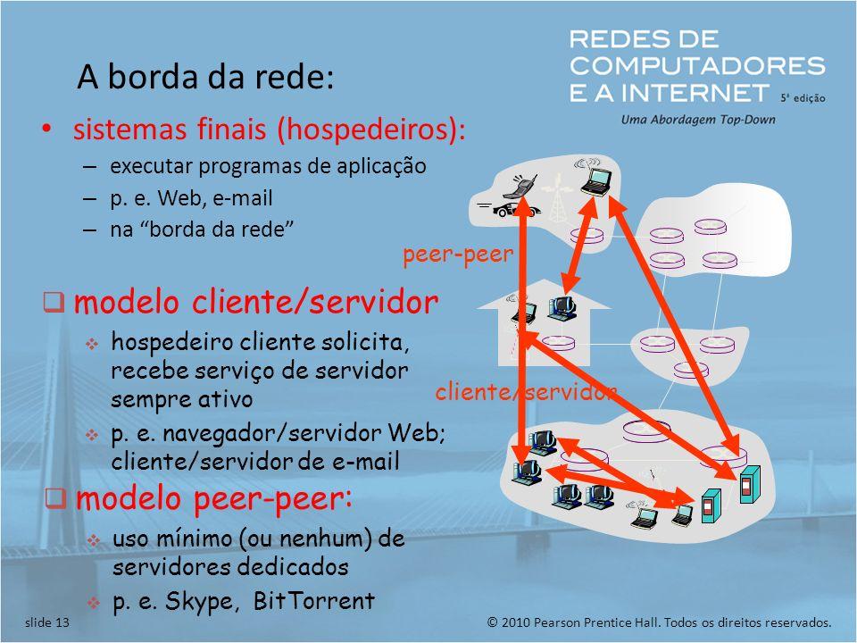 A borda da rede: sistemas finais (hospedeiros):