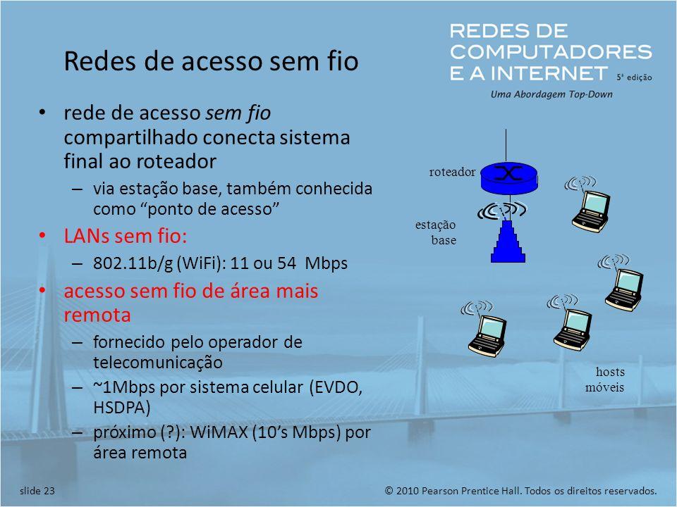 Redes de acesso sem fio rede de acesso sem fio compartilhado conecta sistema final ao roteador.