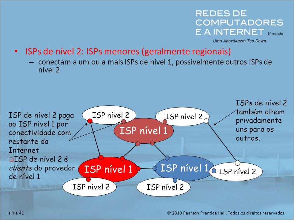 ISPs de nível 2: ISPs menores (geralmente regionais)