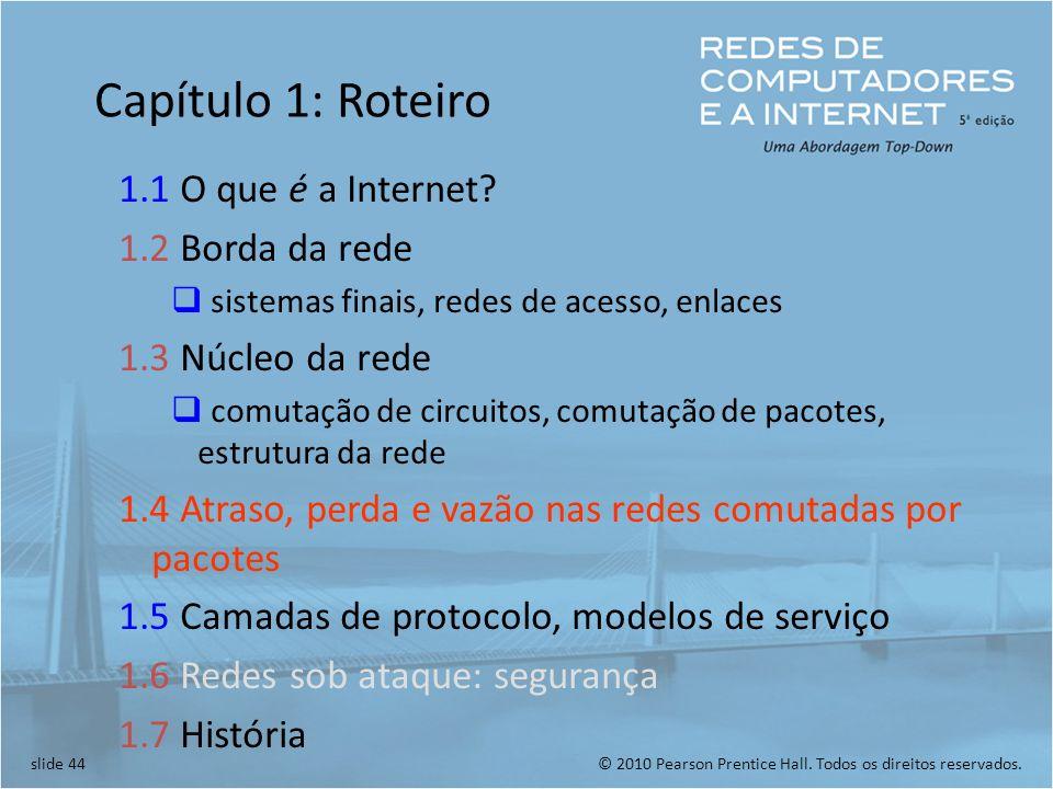 Capítulo 1: Roteiro 1.1 O que é a Internet 1.2 Borda da rede
