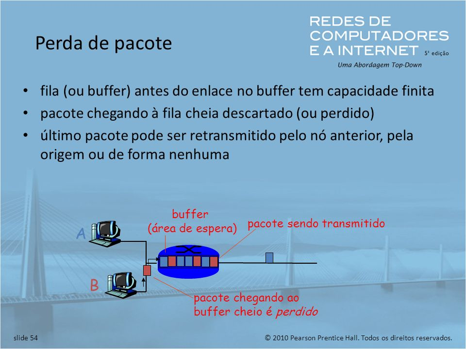 Perda de pacote fila (ou buffer) antes do enlace no buffer tem capacidade finita. pacote chegando à fila cheia descartado (ou perdido)