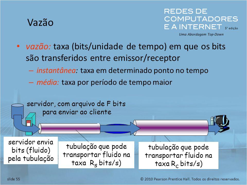 Vazão vazão: taxa (bits/unidade de tempo) em que os bits são transferidos entre emissor/receptor. instantânea: taxa em determinado ponto no tempo.