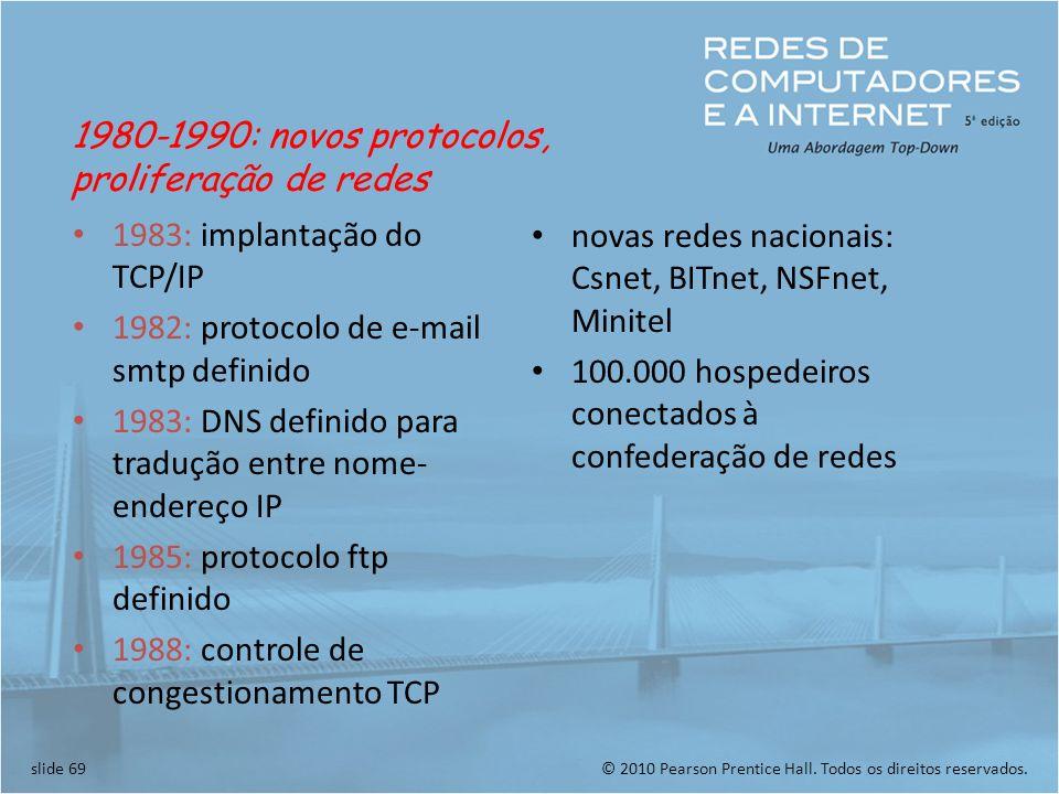 1980-1990: novos protocolos, proliferação de redes. 1983: implantação do TCP/IP. 1982: protocolo de e-mail smtp definido.