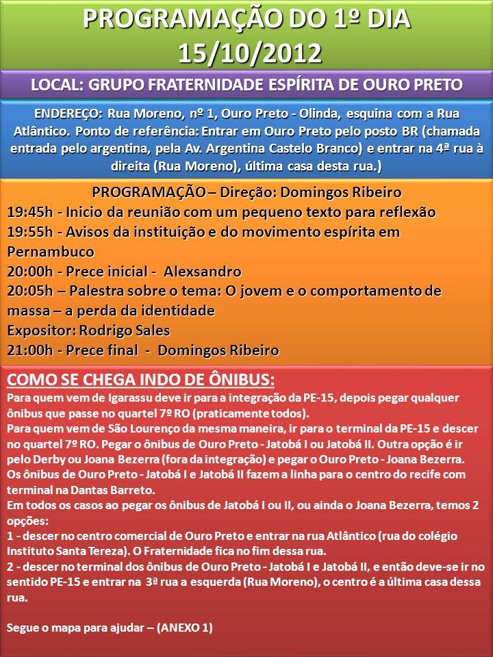 LOCAL: GRUPO FRATERNIDADE ESPÍRITA DE OURO PRETO