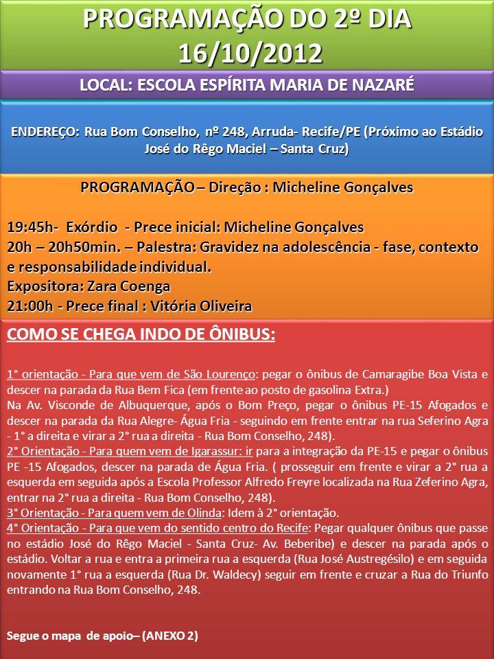 PROGRAMAÇÃO DO 2º DIA 16/10/2012 LOCAL: ESCOLA ESPÍRITA MARIA DE NAZARÉ.