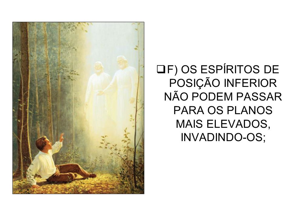 F) OS ESPÍRITOS DE POSIÇÃO INFERIOR NÃO PODEM PASSAR PARA OS PLANOS MAIS ELEVADOS, INVADINDO-OS;