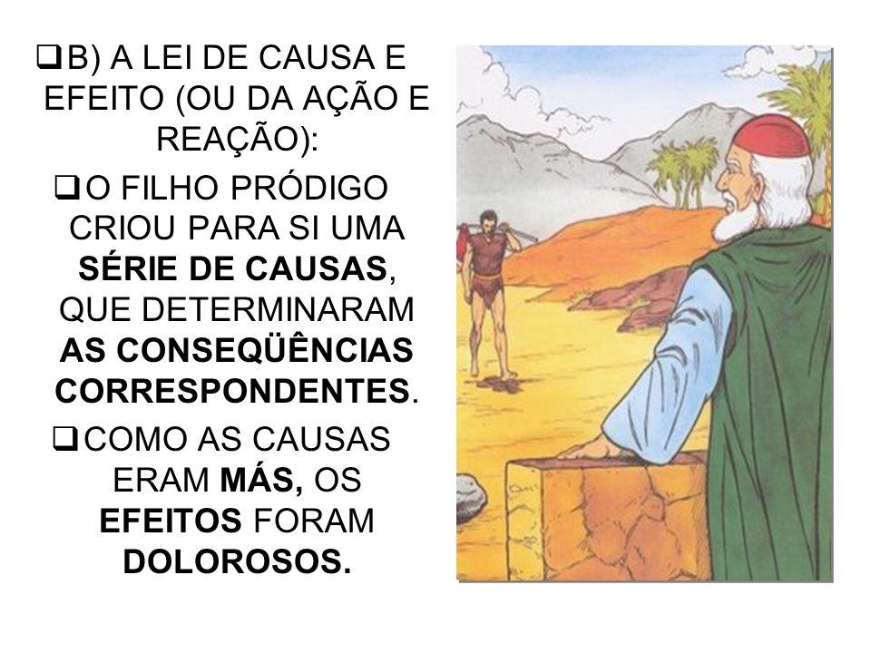 B) A LEI DE CAUSA E EFEITO (OU DA AÇÃO E REAÇÃO):