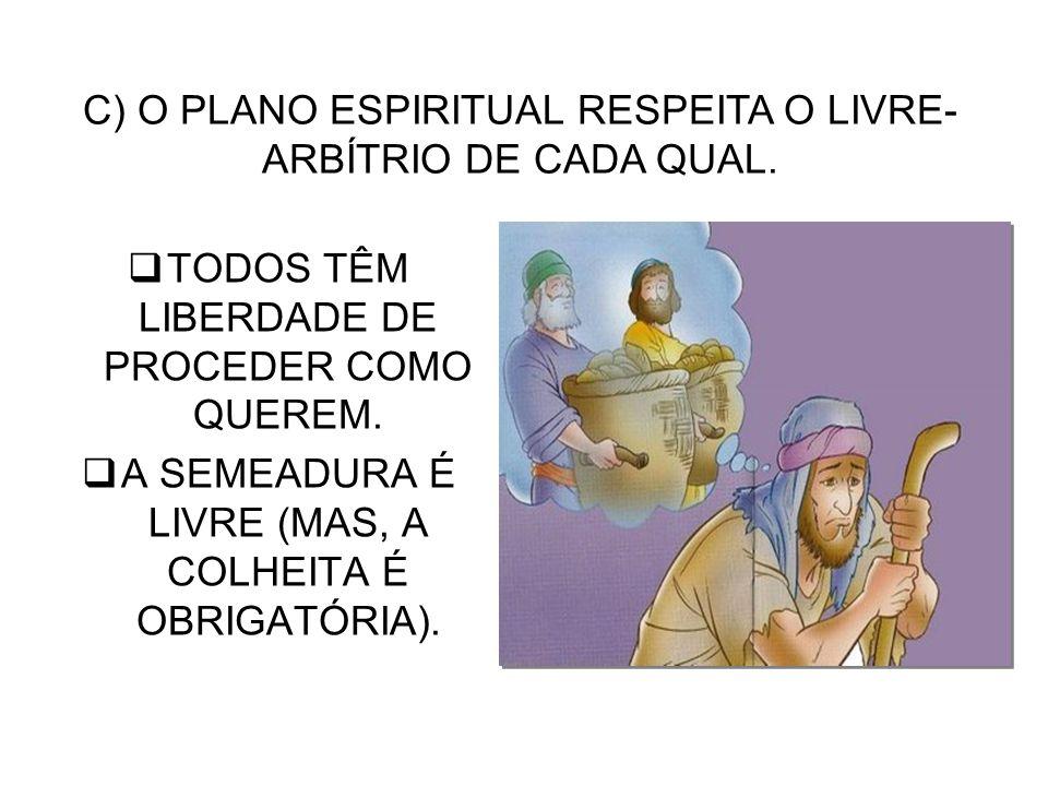 C) O PLANO ESPIRITUAL RESPEITA O LIVRE-ARBÍTRIO DE CADA QUAL.