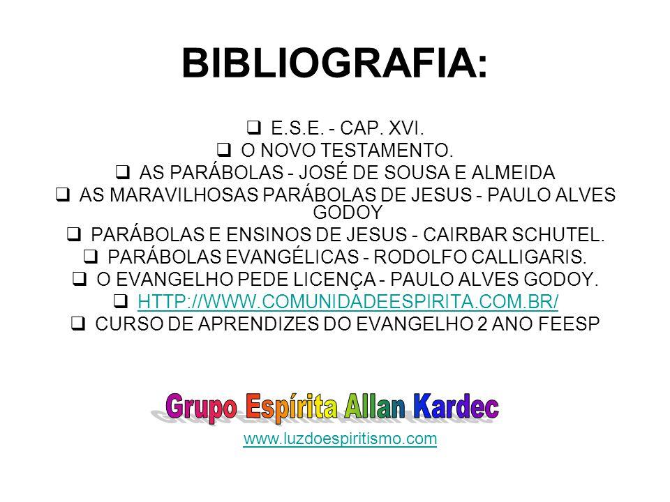 BIBLIOGRAFIA: Grupo Espírita Allan Kardec E.S.E. - CAP. XVI.