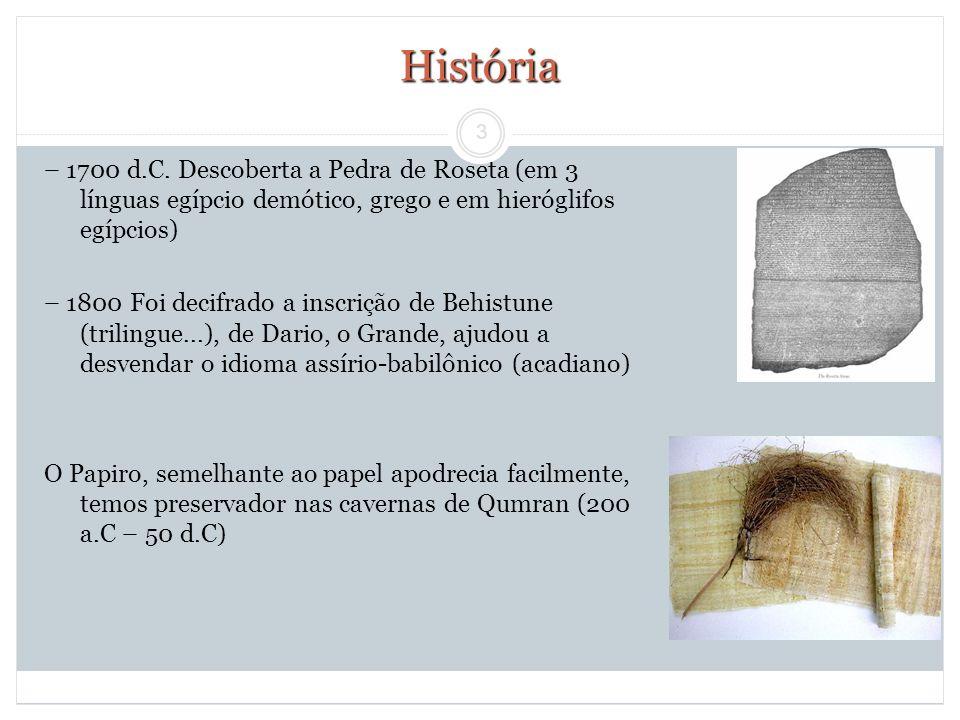 História – 1700 d.C. Descoberta a Pedra de Roseta (em 3 línguas egípcio demótico, grego e em hieróglifos egípcios)