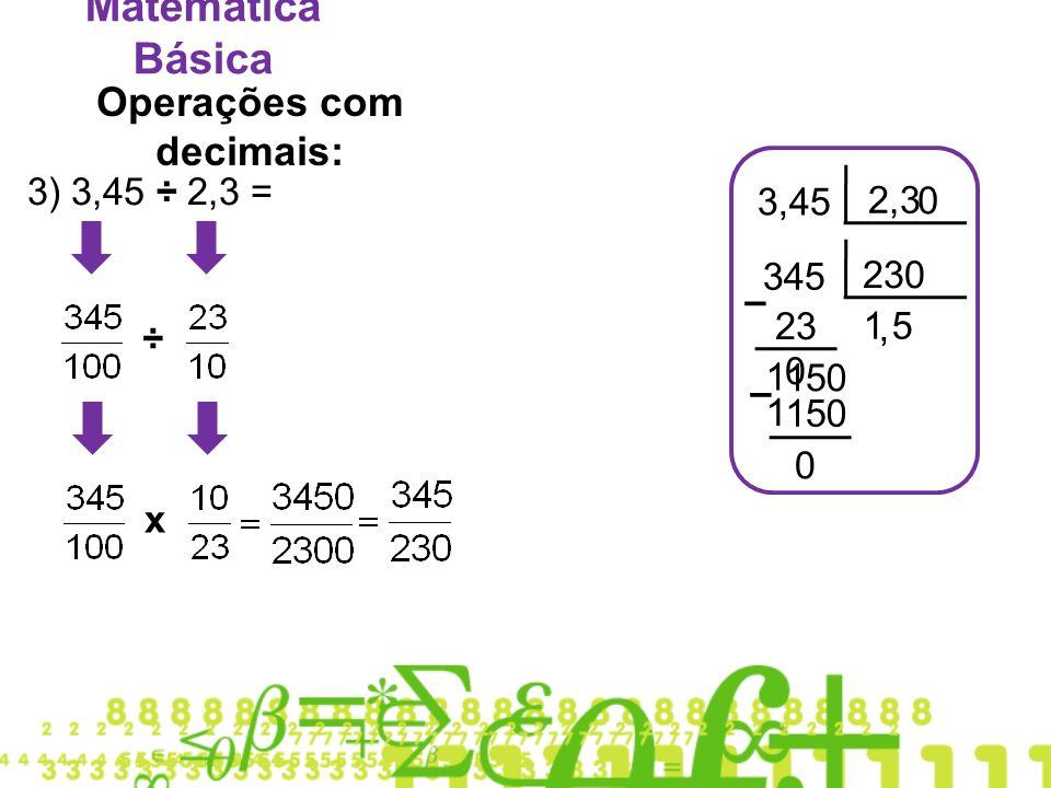 Operações com decimais: