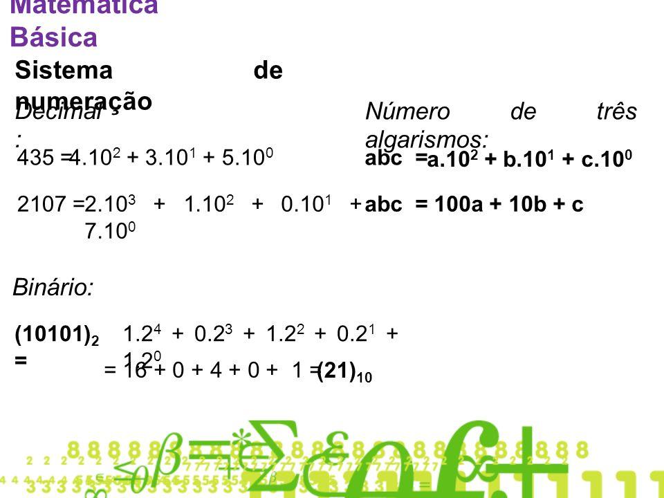 Matemática Básica Sistema de numeração Decimal: