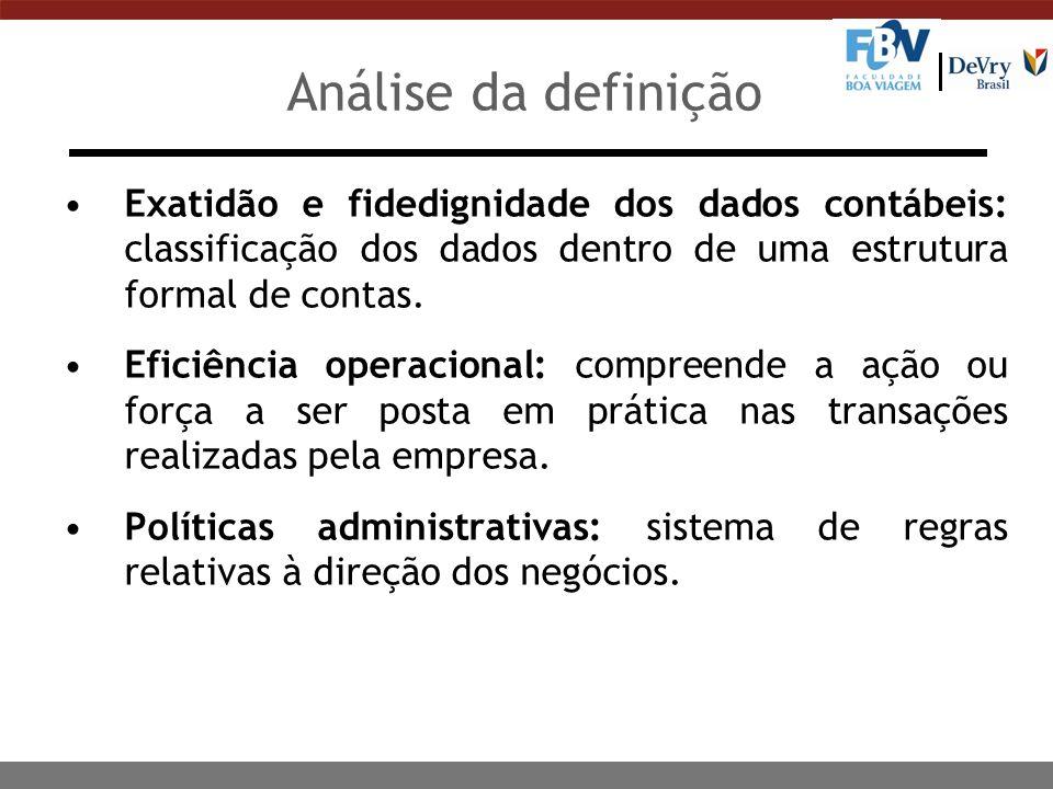 Análise da definição Exatidão e fidedignidade dos dados contábeis: classificação dos dados dentro de uma estrutura formal de contas.