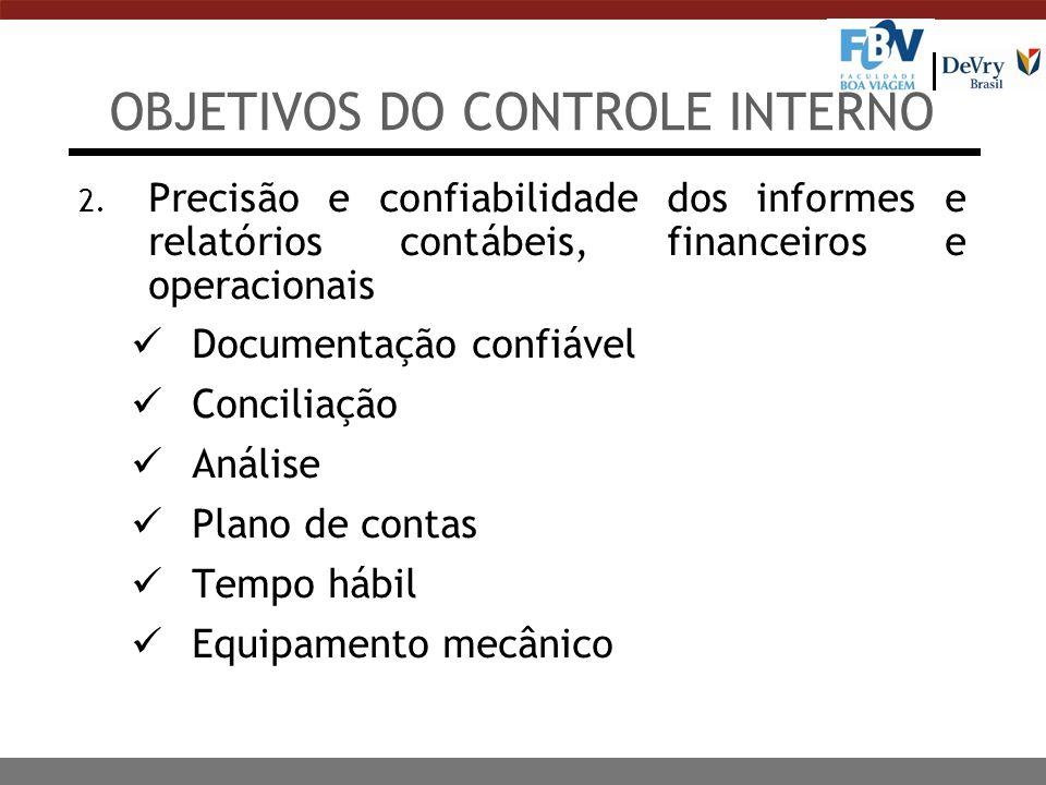 OBJETIVOS DO CONTROLE INTERNO