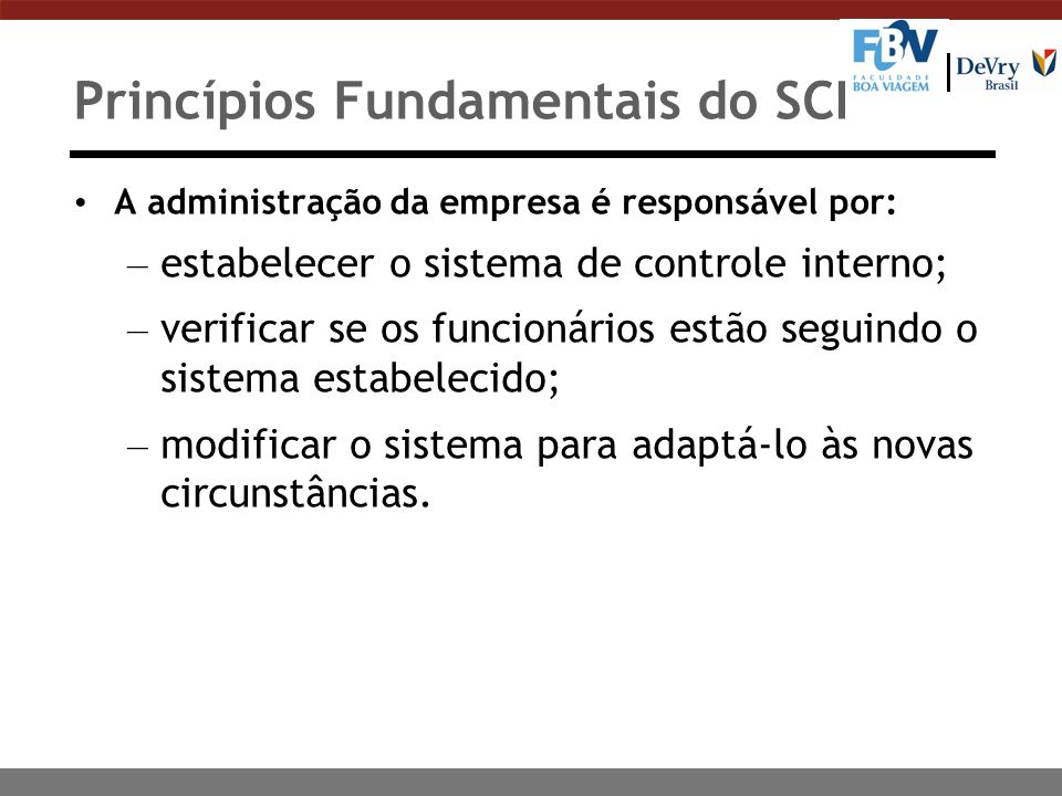 Princípios Fundamentais do SCI