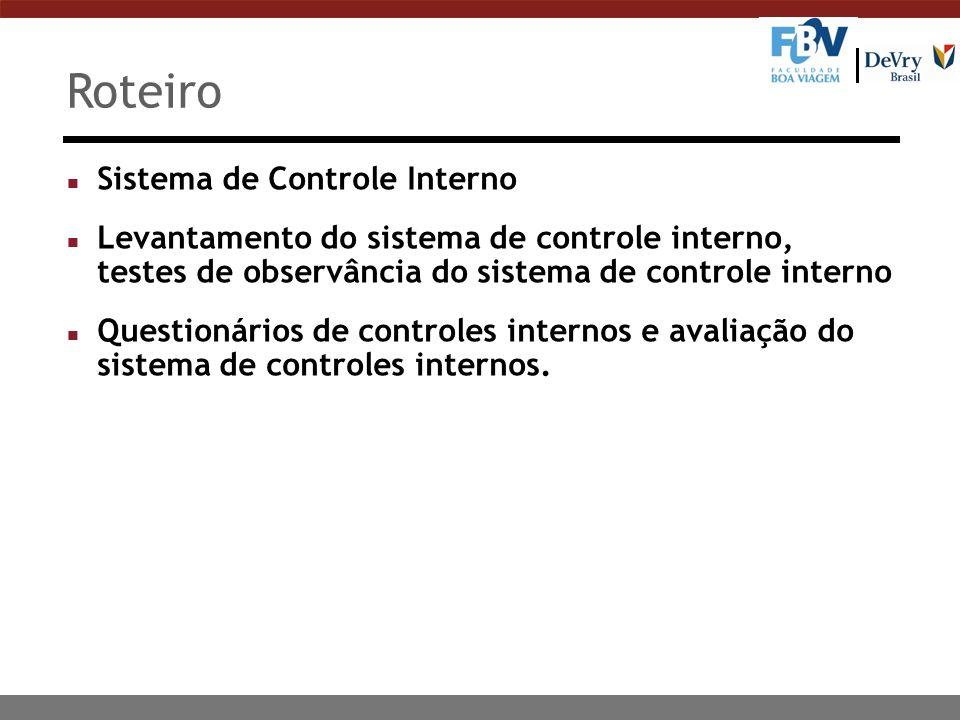Roteiro Sistema de Controle Interno