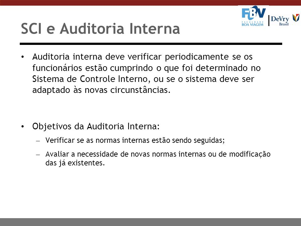 SCI e Auditoria Interna