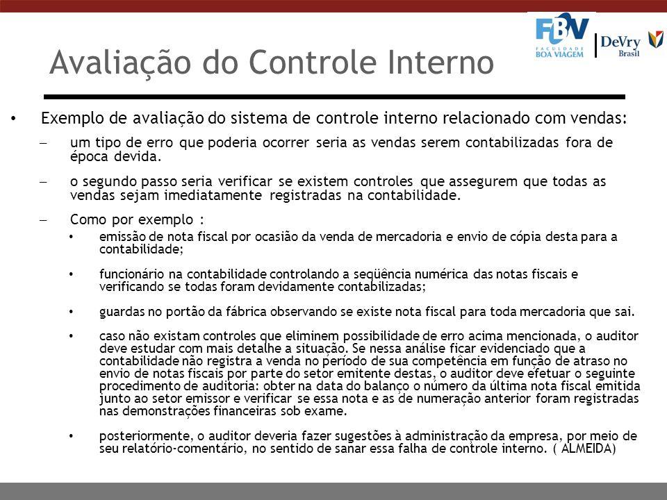 Avaliação do Controle Interno