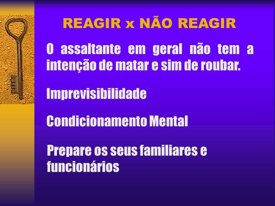 REAGIR x NÃO REAGIR O assaltante em geral não tem a intenção de matar e sim de roubar. Imprevisibilidade.