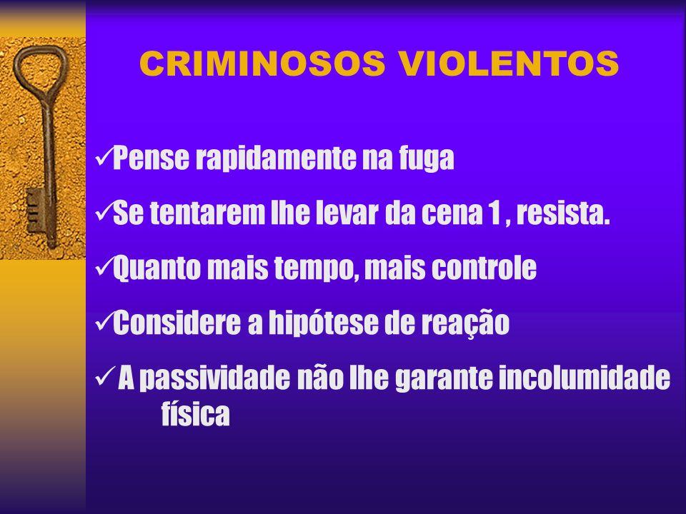 CRIMINOSOS VIOLENTOS Pense rapidamente na fuga