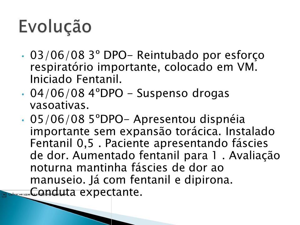 Evolução 03/06/08 3º DPO- Reintubado por esforço respiratório importante, colocado em VM. Iniciado Fentanil.