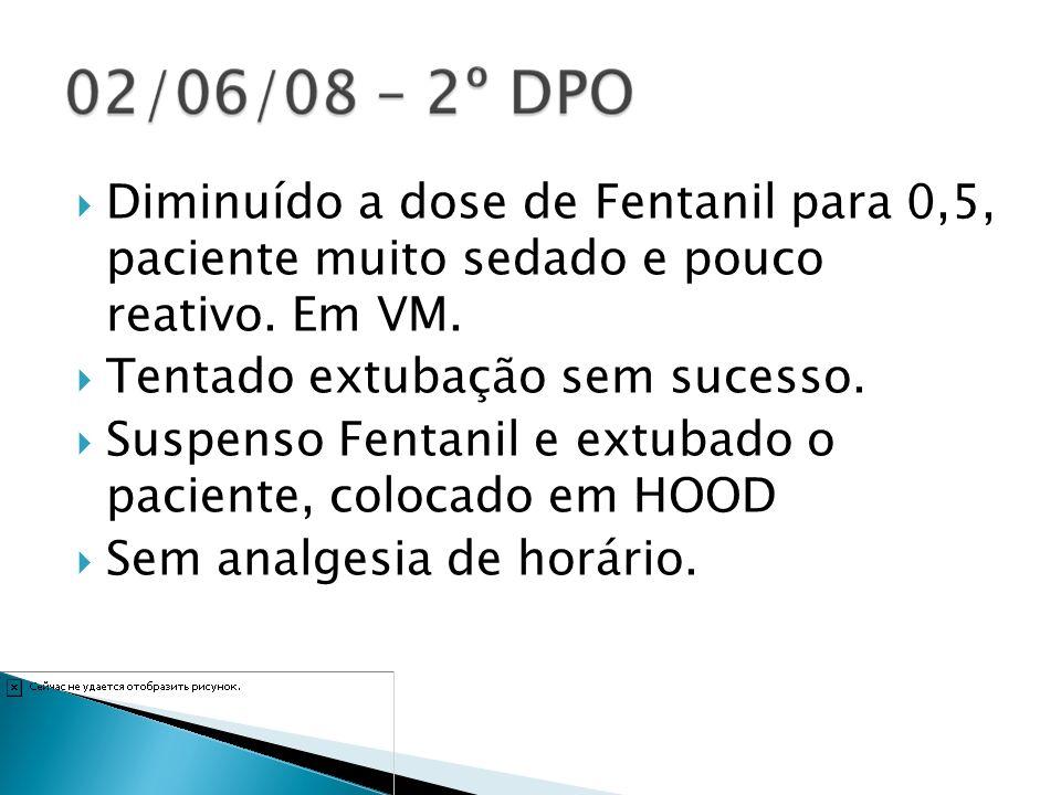 Diminuído a dose de Fentanil para 0,5, paciente muito sedado e pouco reativo. Em VM.