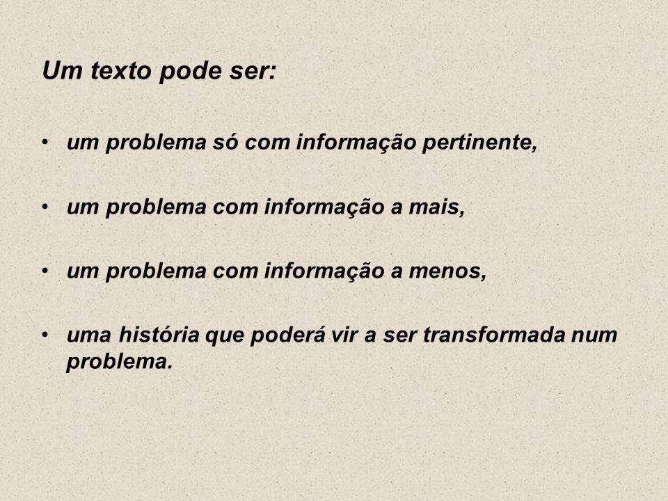 Um texto pode ser: um problema só com informação pertinente,