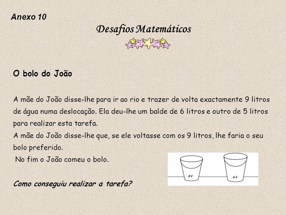 Desafios Matemáticos Anexo 10 O bolo do João