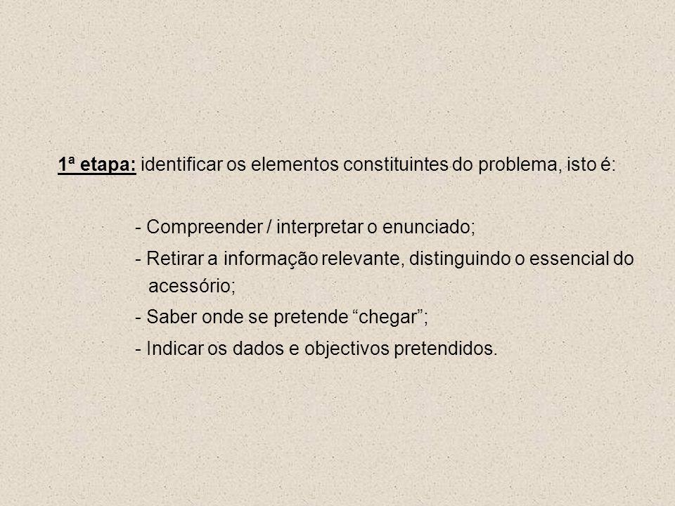 1ª etapa: identificar os elementos constituintes do problema, isto é: