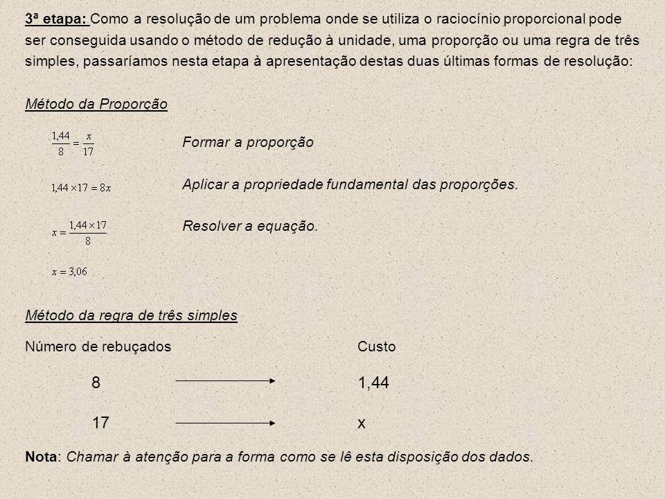 3ª etapa: Como a resolução de um problema onde se utiliza o raciocínio proporcional pode ser conseguida usando o método de redução à unidade, uma proporção ou uma regra de três simples, passaríamos nesta etapa à apresentação destas duas últimas formas de resolução: