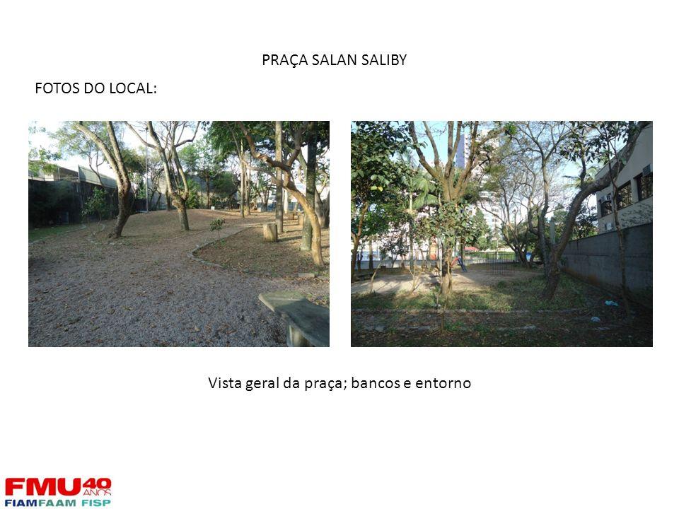 Vista geral da praça; bancos e entorno