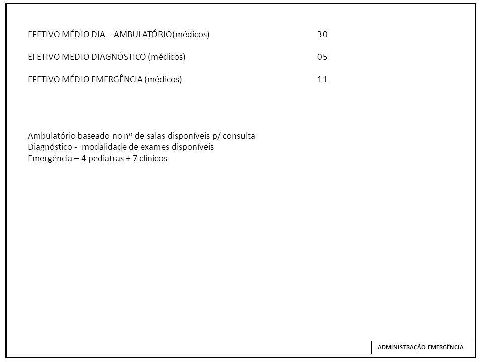 EFETIVO MÉDIO DIA EFETIVO MÉDIO DIA - AMBULATÓRIO(médicos) 30