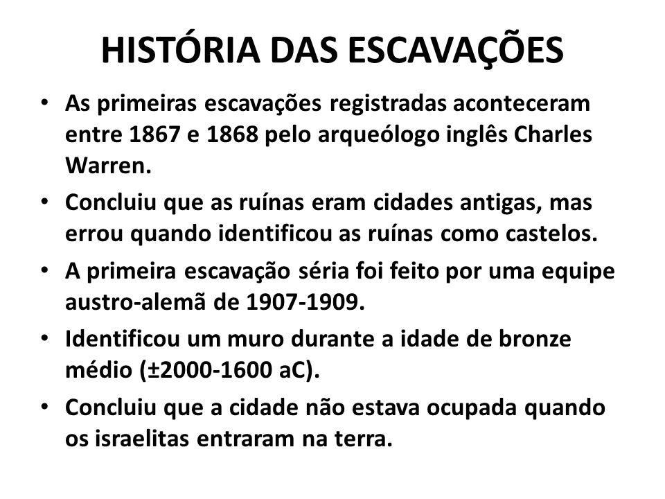 HISTÓRIA DAS ESCAVAÇÕES