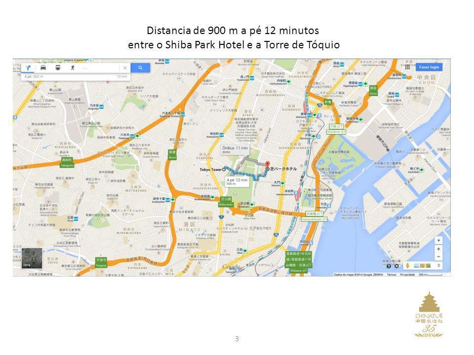 Distancia de 900 m a pé 12 minutos