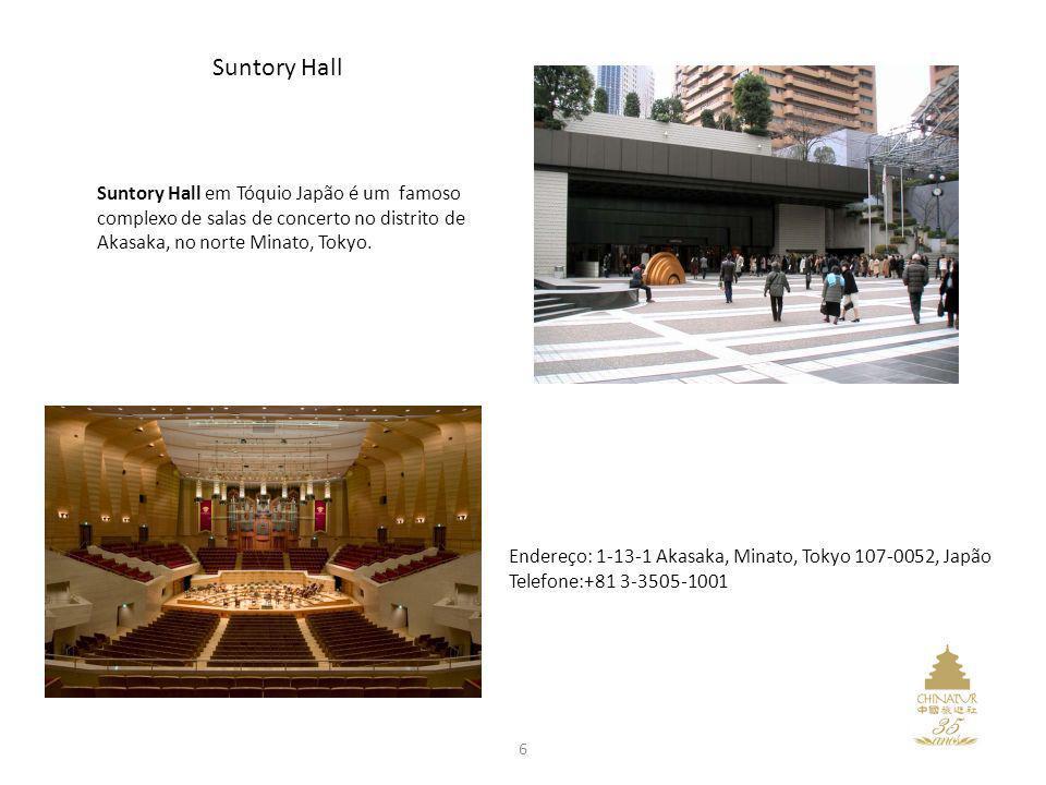 Suntory Hall Suntory Hall em Tóquio Japão é um famoso complexo de salas de concerto no distrito de Akasaka, no norte Minato, Tokyo.