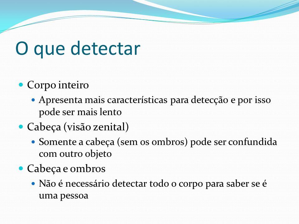 O que detectar Corpo inteiro Cabeça (visão zenital) Cabeça e ombros