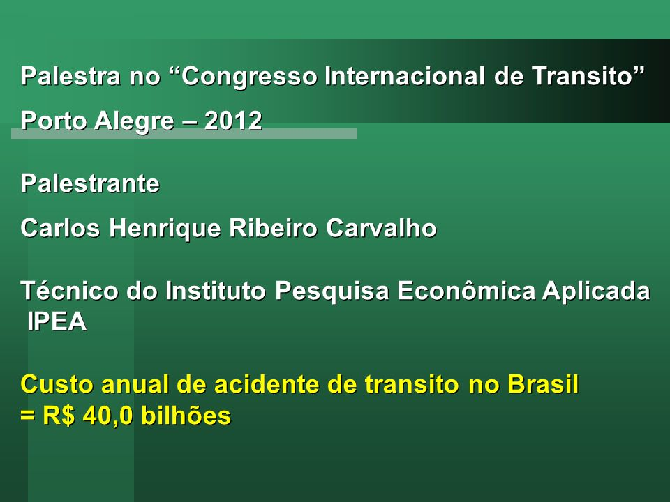 Palestra no Congresso Internacional de Transito
