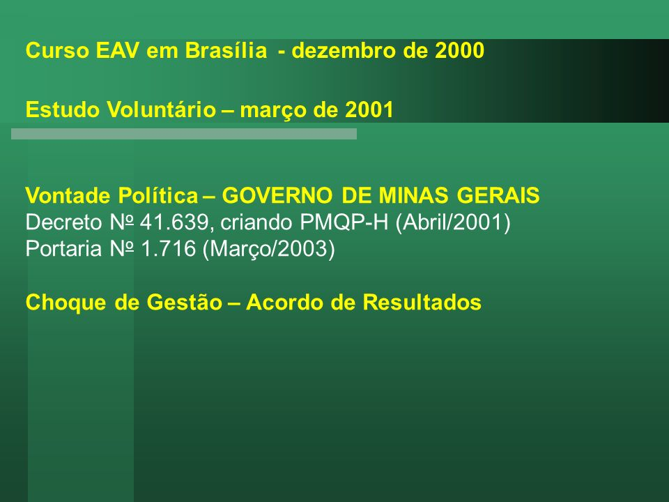Curso EAV em Brasília - dezembro de 2000