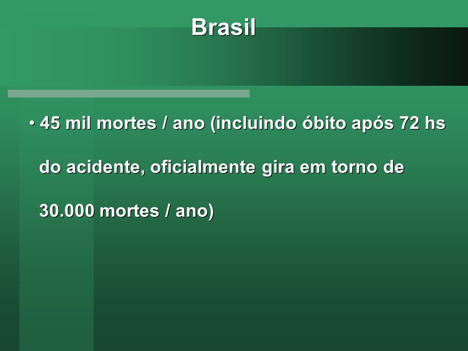 Brasil 45 mil mortes / ano (incluindo óbito após 72 hs