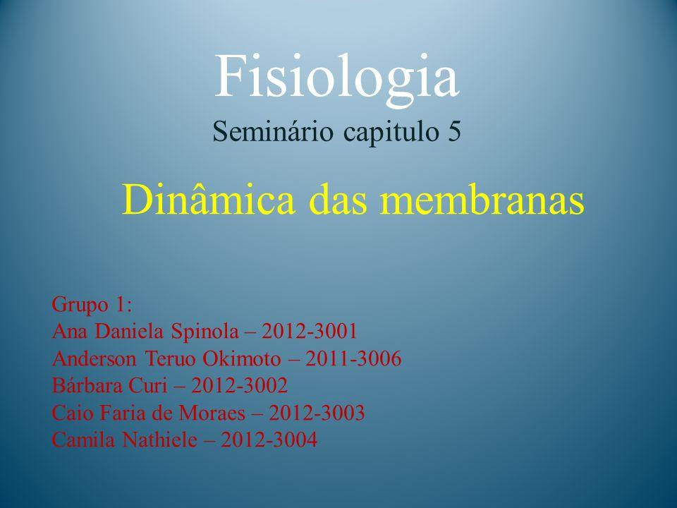 Fisiologia Dinâmica das membranas Seminário capitulo 5 Grupo 1: