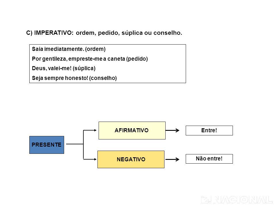 C) IMPERATIVO: ordem, pedido, súplica ou conselho.