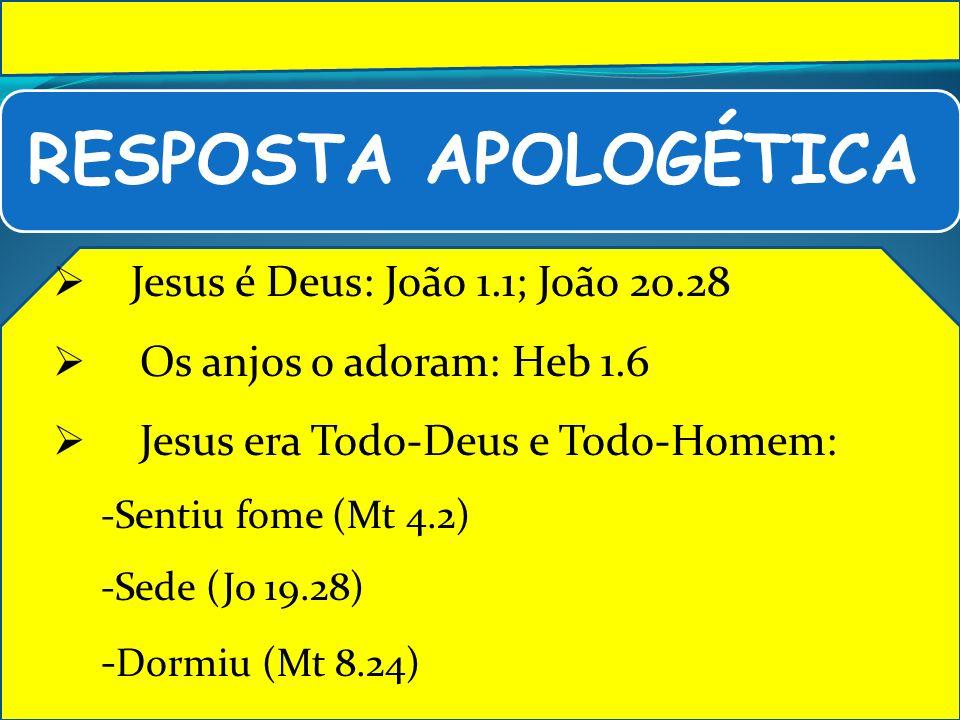 Jesus é Deus: João 1.1; João 20.28 Os anjos o adoram: Heb 1.6