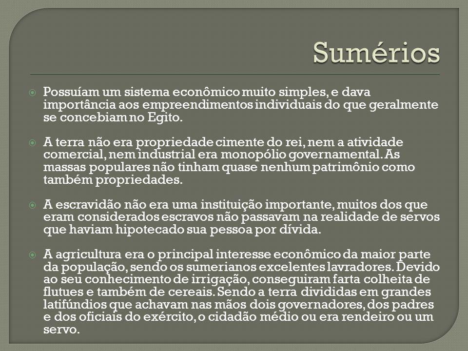 Sumérios Possuíam um sistema econômico muito simples, e dava importância aos empreendimentos individuais do que geralmente se concebiam no Egito.