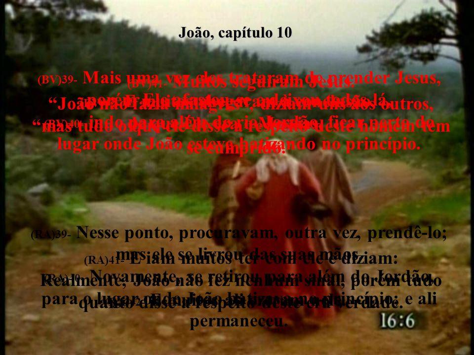 João, capítulo 10 (BV)39- Mais uma vez eles trataram de prender Jesus, porém Ele afastou-se e deixou todos lá,